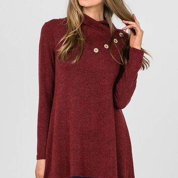 Button Detail Tunic - Burgundy