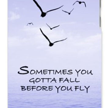 Sometimes You Gotta Fall Before You Fly Quote Blue Sky, Birds, Ocean Apple ipod 5 Ipod 5g Quality Hard Case Snap On Skin for ipod Gen 5 and 5, 5G (WHITE CASE)