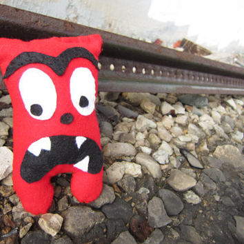 Stuffed Monster Felt Handsewn Small Plush Red by AutumnAndAmber