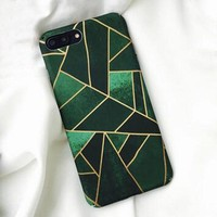 Unique Irregular Rhombus For Coque iPhone 6 Cases Green Geometry Design For iPhone 6 6S 7 Plus Case Hard PC Back Cover Capa