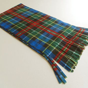 Blue Plaid Fleece Scarf with Red and Green Bright Blue Tartan Unisex Extra Long Extra Wide Scarf