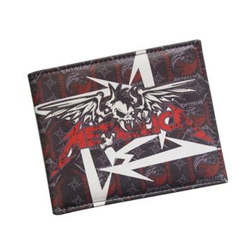 European American Hot Rock Band Music Wallets Heavy Metal Band Metallica Wallet Bifold Card Holder Leather Fans Men Women Wallet