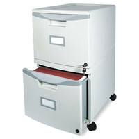 Mobile 2-Drawer File Cabinet with Locking Casters & Label Holders