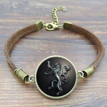 Vintage bracelets bangles Game of Thrones House Lannister Glass Cabochon handmade jewelry Brown Rope Charm bracelet for women