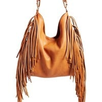 Junior Women's Street Level Fringe Faux Leather Tote