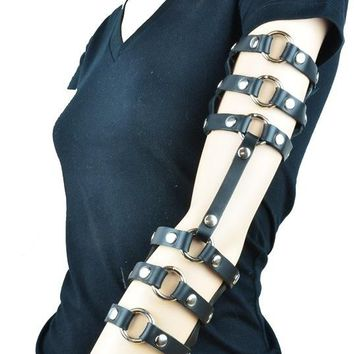 Gothic Black Leather Double Stappy & O-Ring Arm Harness