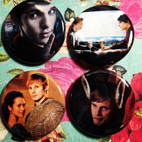 BBC SYFY Merlin Pinback Button Set of 4 Badges with Colin Morgan, Bradley James and John Hurt