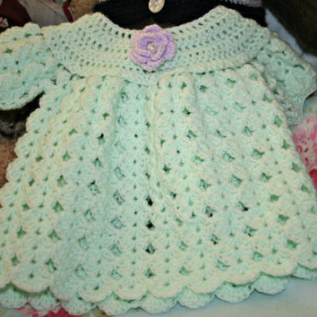 Baby crochet dress crochetyknitsnbits lacy sleeves High quality hand made baby girl clothes mint lilac layette shower gift 3 to 9 months