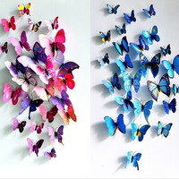 ( 12 pcs / pack ) 3D wall stickers butterfly fridge magnet wedding decoration home decor