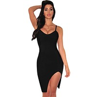 Black Slit Thigh New Fashion Bandage Dress LAVELIQ