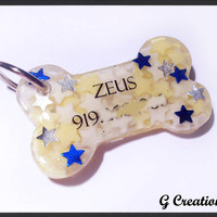 Stars Bone Dog Tag - Cute Waterproof Resin Dog collar Accessory for male dogs - Handmade Dog ID Pet Tag - Pet Accessories - Original design