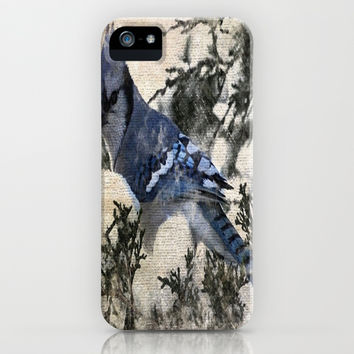 elegant christmas winter snow blue jay bird pine tree nature landscape painting iPhone & iPod Case by Chicelegantboutique
