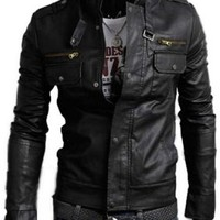 Senfloco Men's PU Leather Motorcycle Jacket Stand Collar Multi Pocket Jackets