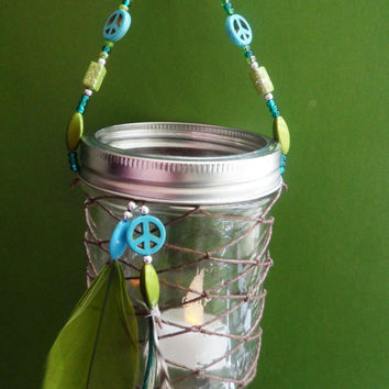 Dream Catcher Lantern - Peace - Boho - Modern - Green and Blue