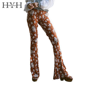 HYH HAOYIHUI Women Pants Boho Vintage Elegant Streetwear Casual Pants Autumn Floral Printed High Waist Flared Long Pants