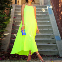 Lime Yellow Halter Neck Pleated A-Line Maxi Dress