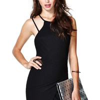 Black Strappy Lace Panel Asymmetrical Dress