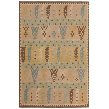 Herat Oriental Afghan Hand-woven Kilim Beige/ Blue Wool Rug (6'6 x 9'7) | Overstock.com Shopping - The Best Deals on 5x8 - 6x9 Rugs