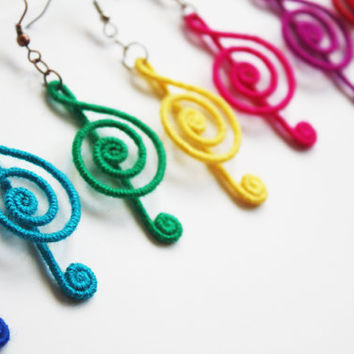 Treble Clef Earrings Music Note Earrings Musical by elifus on Etsy