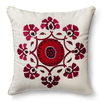Mudhut™ Kora Embroidered Medallion Decorative Pillow - Red/Cream (Square)