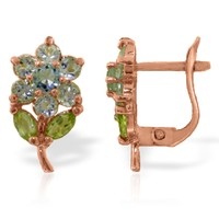 2.12 CTW 14K Solid Rose Gold Flowers Stud Earrings Aquamarine Peridot