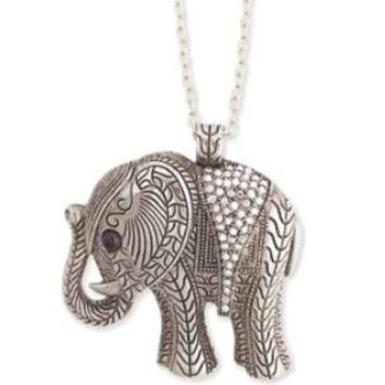 ZAD Vintage Look Elephant Charm Necklace with Ice Crystals