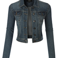 LE3NO Womens Vintage Cropped Denim Jacket With Pockets