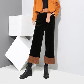 LMFON Women Casual Fashion Lamb Wool Stitching Velvet High Waist Loose Leisure Pants Trousers