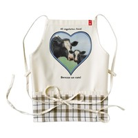 Holstein Cow and Calf Pink Heart Zazzle HEART Apron