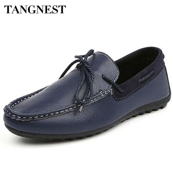 Tangnest Man Shoes PU Leather Casual Korean Style Breathable Driving Shoes Solid Slip-on Spring Summer Men Loafers Flats XMR1909
