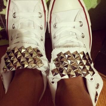 custom studded white converse all star chuck taylor high tops all sizes colors