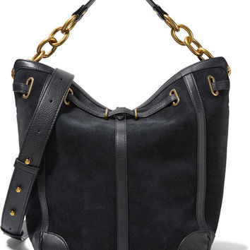 Jérôme Dreyfuss - Tanguy textured leather-trimmed suede shoulder bag