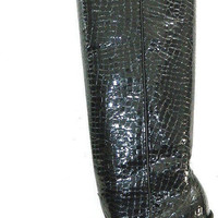 Miguel cowboy boot 22 inch tall crocodile belly patent leather men size 10 to  11.5 in stock