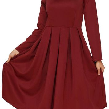 Burgundy Pocket Style High Neck Long Sleeve Skater Dress