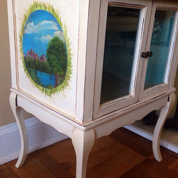 Vintage Wood Accent Table Cabinet Hand Painted And Distressed With Scene