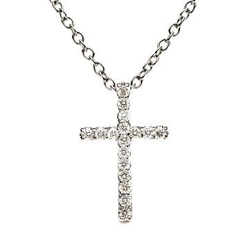 .085 cttw Diamond Cross Necklace in Platinum