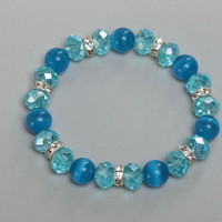 Handmade children's wrist bracelet with glass and crystal beads stretchy