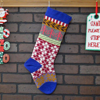 Hand Knit Argyle Christmas Stocking in Blue, Fair Isle Knit Stocking with Bright Pink Trees and Gold Snowflakes, can be personalized