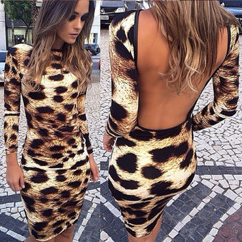 Women's Fashion Leopard Backless Slim Sexy One Piece Dress [6338693124]