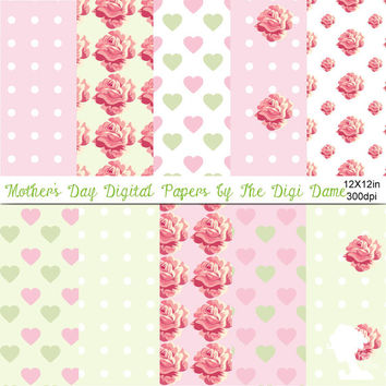 Digital Papers: Mother's Day in Pastel Pink and Green with white, and Roses, Hearts and Teacups