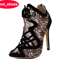 Brand New Sexy Open Toe High Heels Women Sandals 2016 Fashion Mesh Lace Up Pumps Ankle Boots Party Shoes Women 772