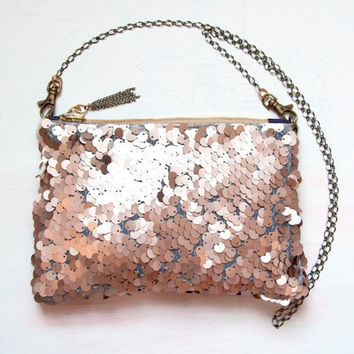B U F F Pink Sequin Shoulder Bag. ROSE GOLD Metallic Clutch. Neutral Wedding Purse.