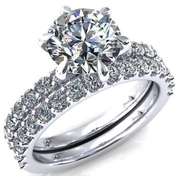Mylene Round Moissanite 6 Prong Sculptural Half Eternity Diamond Engagement Ring