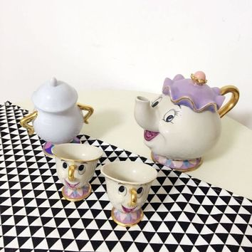 Old style Classical Cartoon Beauty And The Beast Mrs Potts 18K Goldplated Mug Coffeware Sets with full choise fast shipping