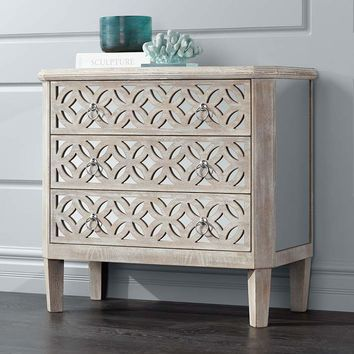 """Charly 33 1/4"""" Wide Natural Whitewash 3-Drawer Accent Chest - #16E65 