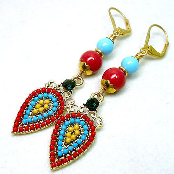 Turquoise and Red Coral Crystal Pearl Southwest Gold Dangle Earrings