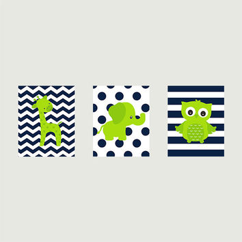 Lime Green and Navy Giraffe Elephant and Owl, CUSTOMIZE YOUR COLORS, 8x10 Prints, set of 3, nursery decor nursery print art baby room decor