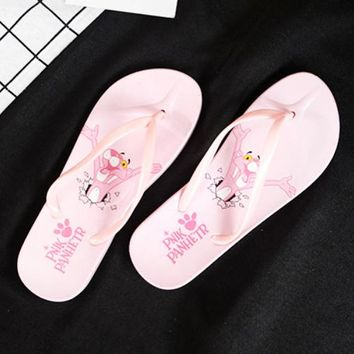 Pink Panther Women Fashion New Letter Leopard Print Household Bathroom Slippers Flip Flops Shoes Pink