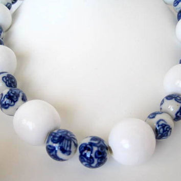 Vintage Blue and White Porcelain Bead Necklace