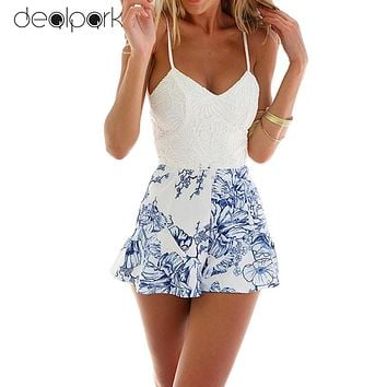 Sexy Women Lace Crochet rompers womens jumpsuit  Floral Print Adjustable Strap Zipper Back Short Macacao Feminino overalls White